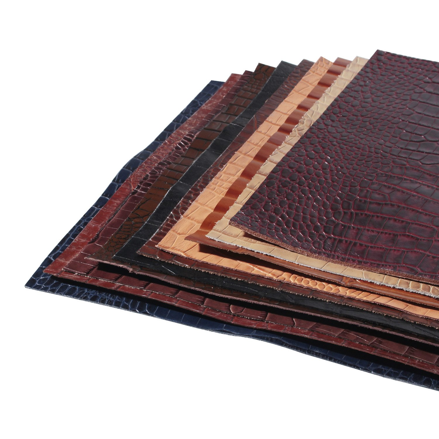crocodile pattern print calf leather for wallet craft, 12''X12'' 12''X12'' color mogu