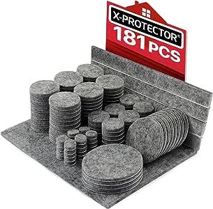 Fieltro adhesivo X-PROTECTOR - Almohadillas de fieltro 181 piezas. -Todos los tamaños de fieltro autoadhesivo para muebles - Protectores de piso premium para muebles - ¡Protege tus pisos de madera!: Amazon.es: Bricolaje