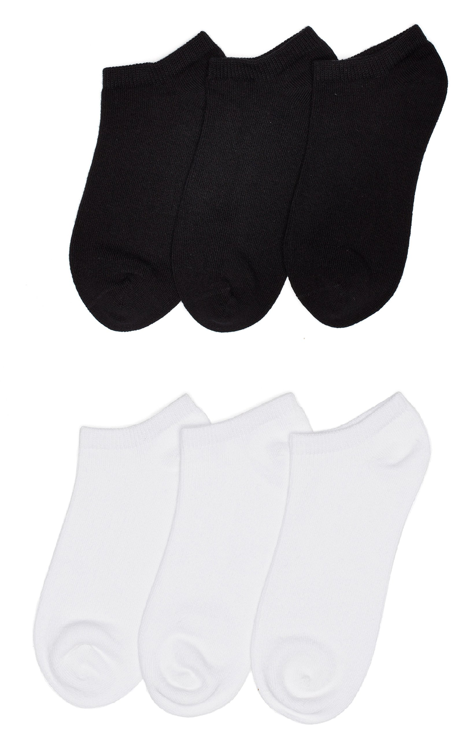 Trimfit Unisex Kids No Show Sport Liner Comfortoe Socks (Pack of 6), Black/White, M