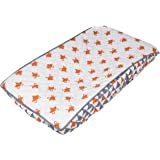 Bacati Playful Foxs Changing Pad Cover, Orange/Grey/Triangles