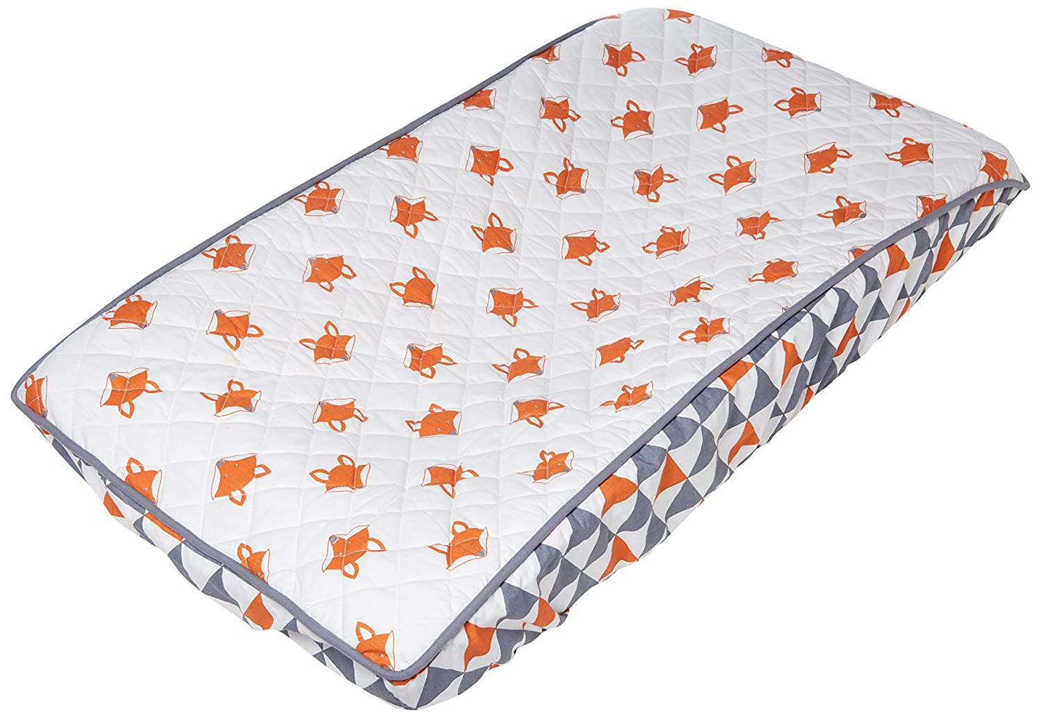 Bacati Playful Foxs Changing Pad Cover, Orange/Grey/Triangles PFOGCPC3