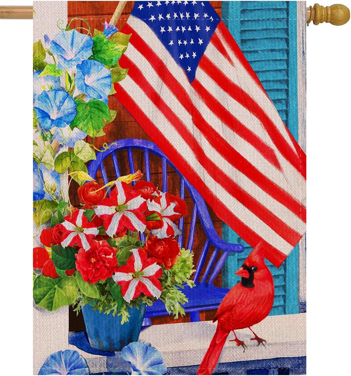 Dyrenson 4th Of July 28 X 40 House Flag Large Double Sided Patriotic Cardinal Flower July 4 Red Bird Geraniums Burlap Garden Yard Decoration Spring Summer Usa Decorative Seasonal Outdoor
