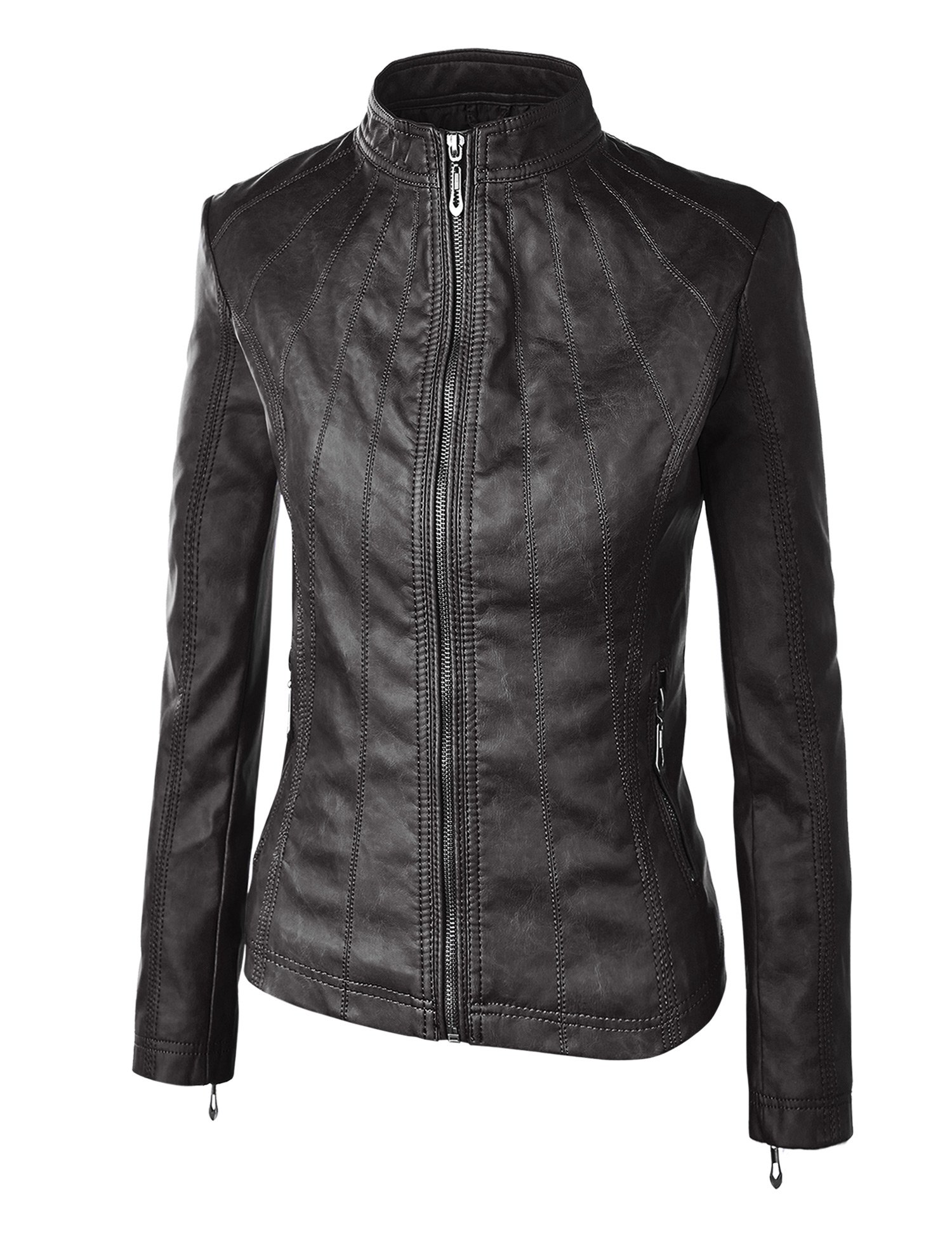 WJC877 Womens Panelled Faux Leather Moto Jacket L BLACK by Lock and Love (Image #3)