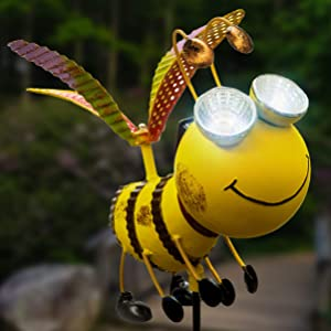 "Solar Garden Stake Lights - Bee with Solar Light Eyes and Rotating Wings - Outdoor Lawn Decor Garden Decoration, Yard Art Décor, Lawn Ornament - Unique Gift - Stake 43"" High 