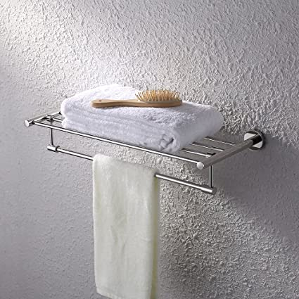 KES Bath Towel Rack With Towel Bar 24 Inch SUS 304 Stainless Steel Bathroom  Storage