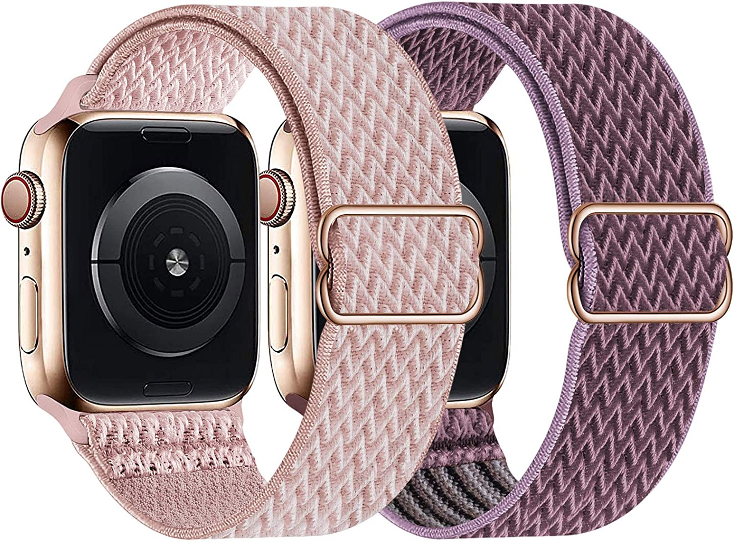 UHKZ 2 Pack Stretchy Solo Loop Compatible with Apple Watch Bands 38mm 40mm 42mm 44mm,Adjustable Braided Sport Elastic Nylon Wristband for iWatch Series 6/SE/5/4/3/2/1