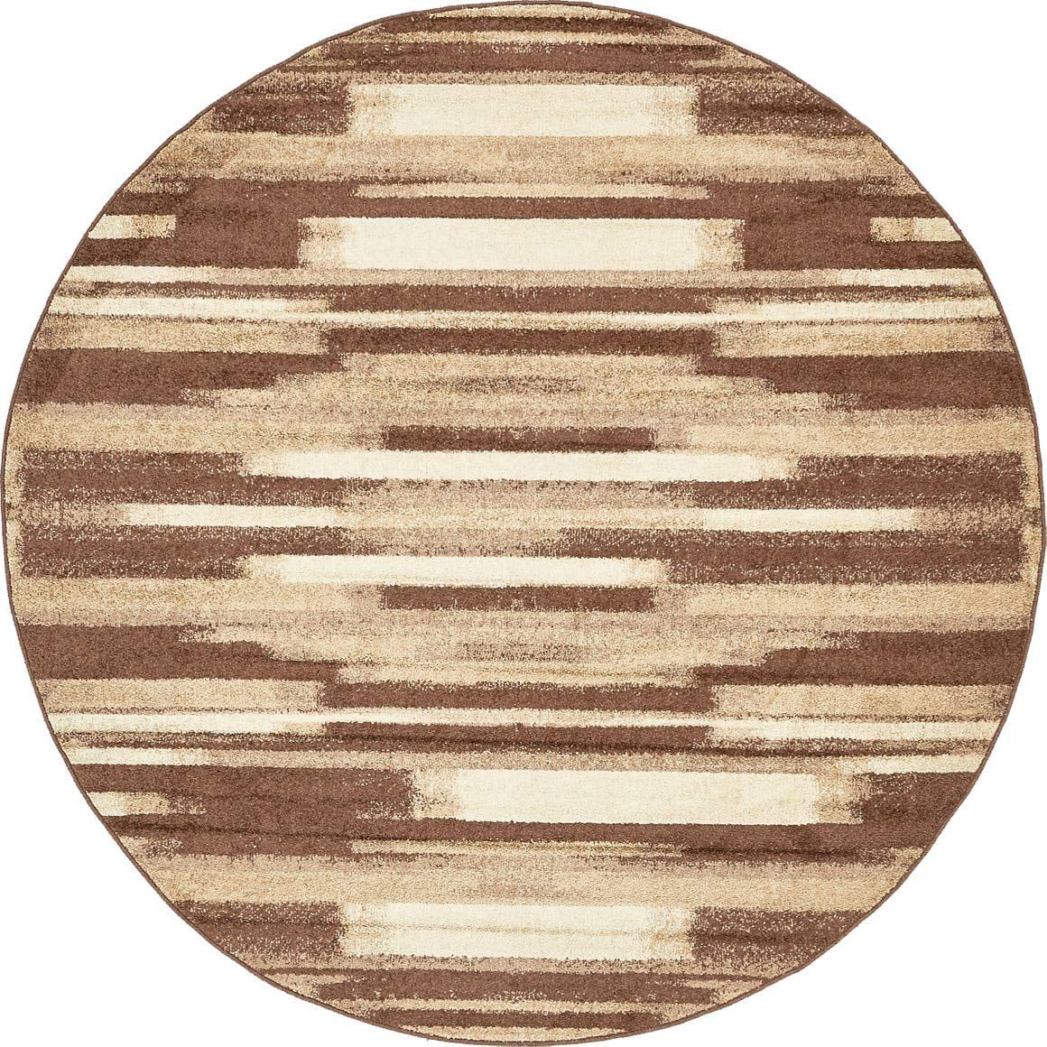 Unique Loom Autumn Collection Gradient Casual Warm Toned Brown Round Rug 8 0 x 8 0