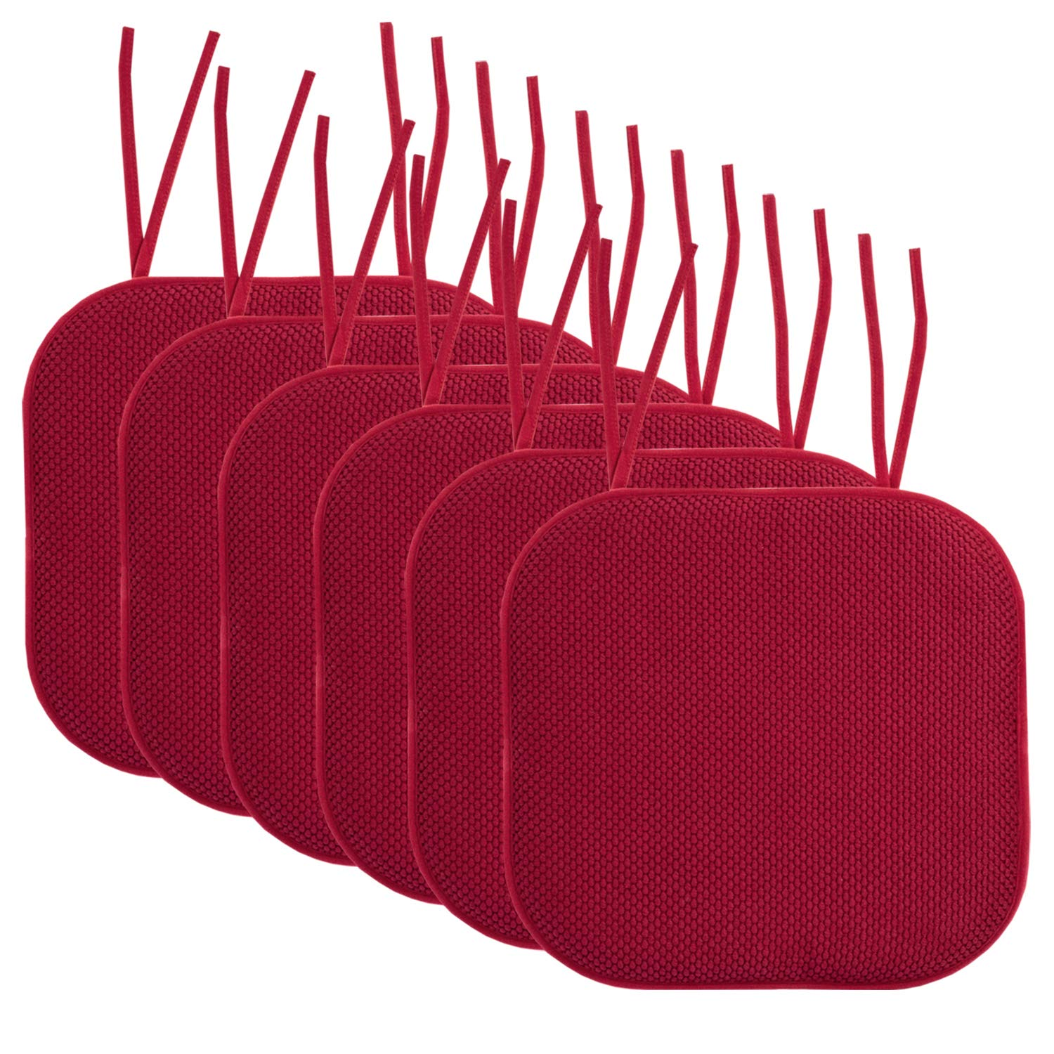 "Sweet Home Collection Chair Cushion Memory Foam Pads with Ties Honeycomb Pattern Slip Non Skid Rubber Back Rounded Square 16"" x 16"" Seat Cover, 6 Pack, Red"