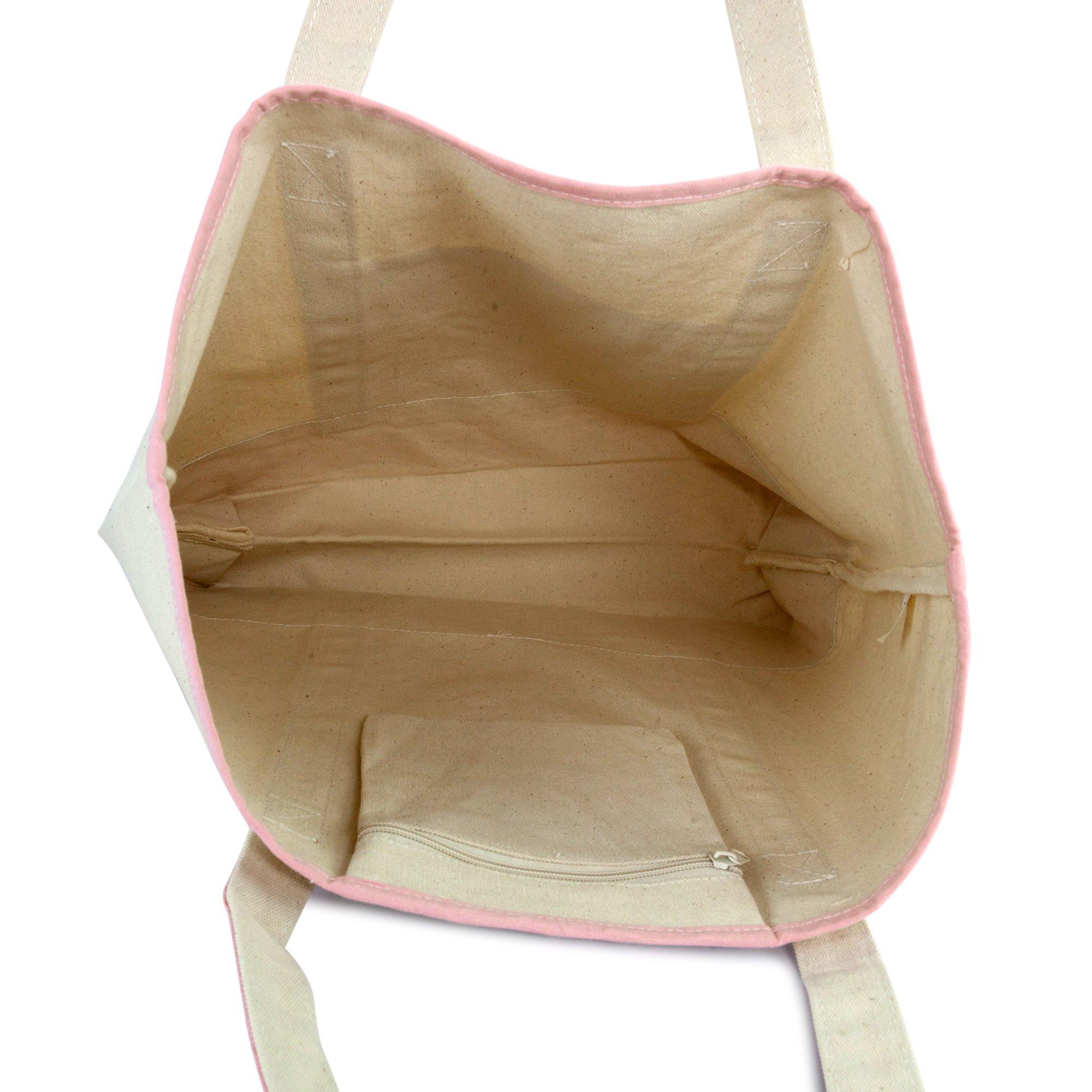 DALIX Women's Cotton Canvas Tote Bag Large Shoulder Bags Pink Monogram G by DALIX (Image #7)