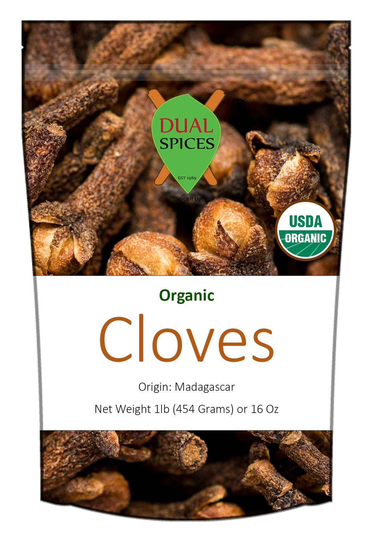 LIMITED TIME SALE - Dualspices Organic Cloves Hand Picked Madagascar 1lb - Resealable Bag