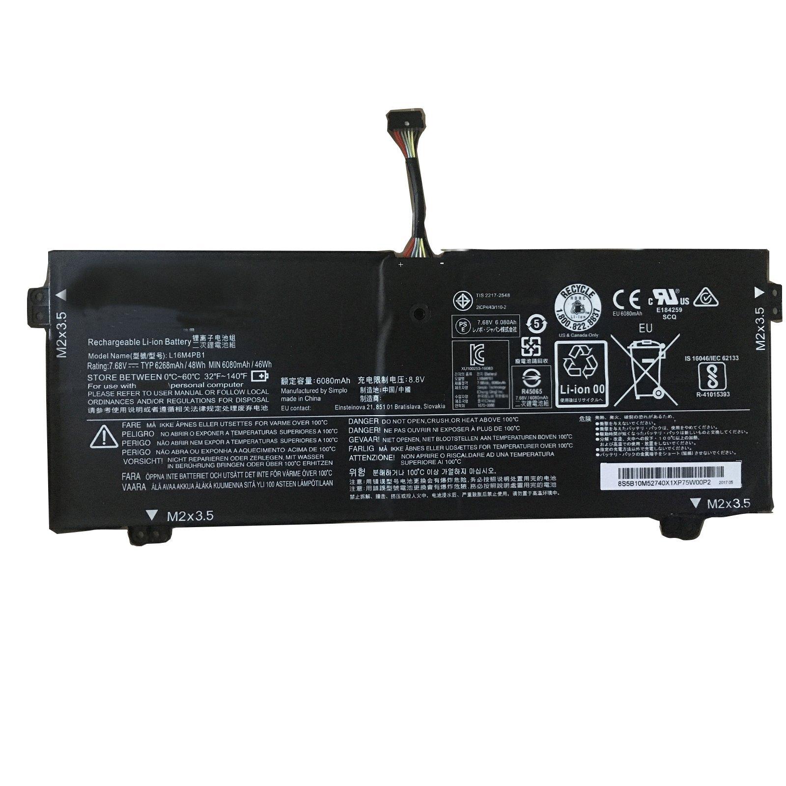 Dentsing 7.68V 48Wh L16M4PB1 Battery For Lenovo 5B10M52740 720-13IKB Serie