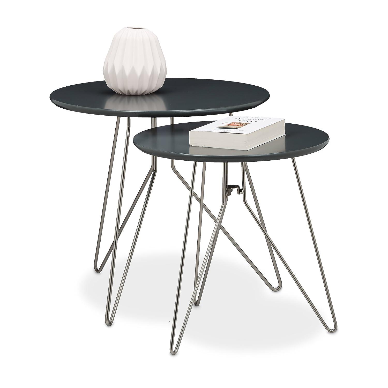 Relaxdays Beistelltisch 2er Set Holz, Metallgestell, Retro-Design ...