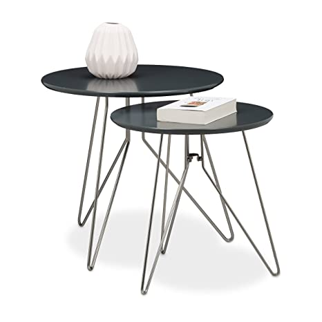 Relaxdays Table Console Table D Appoint Canape Table Basse Gigogne