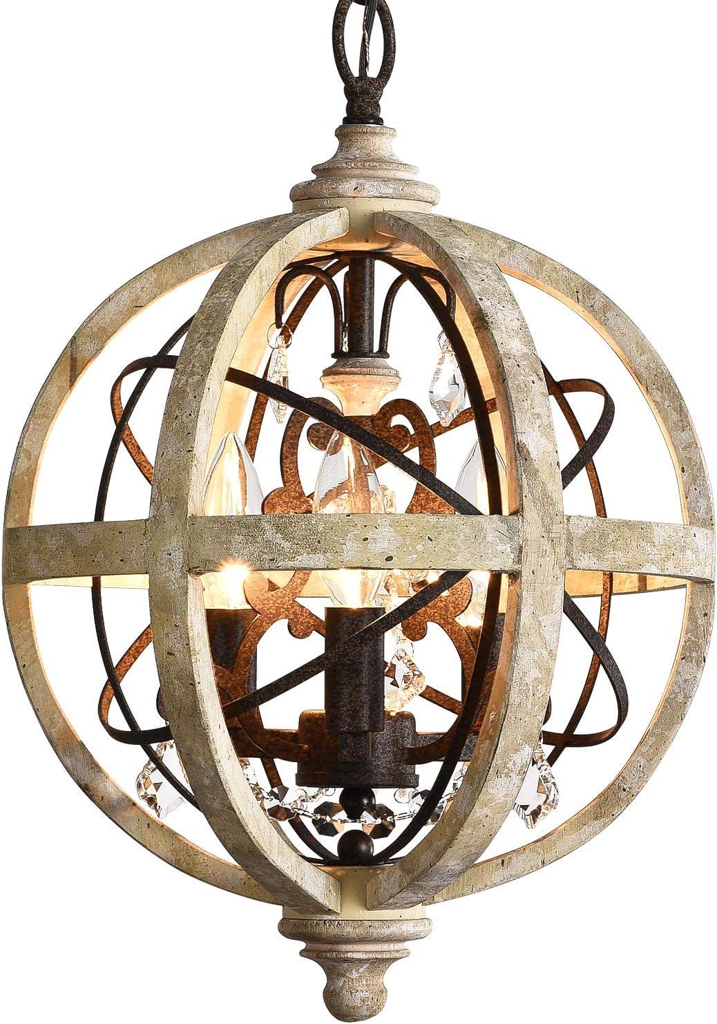 PAFEE 3-Light Wooden Chandelier Rustic Vintage Weathered Wooden Globe Metal Orbed Crystal Chandelier Ceiling Light