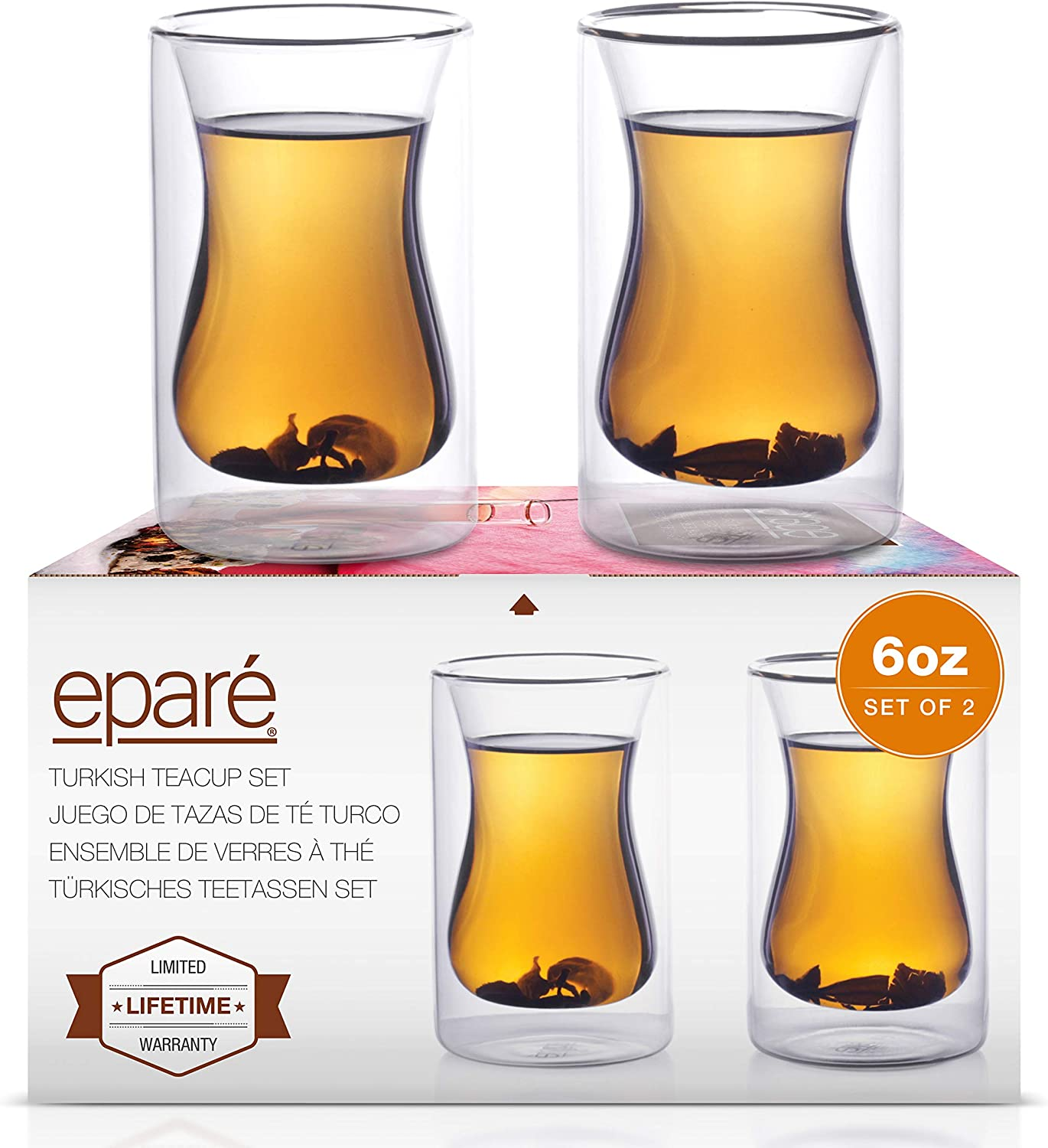 6 oz Turkish Tea Cups - Set Of 2 - Double Walled Clear Glass Cup - Small Coffee Mug - Cafe Latte Espresso or Cappuccino Beverages Mugs by Eparé