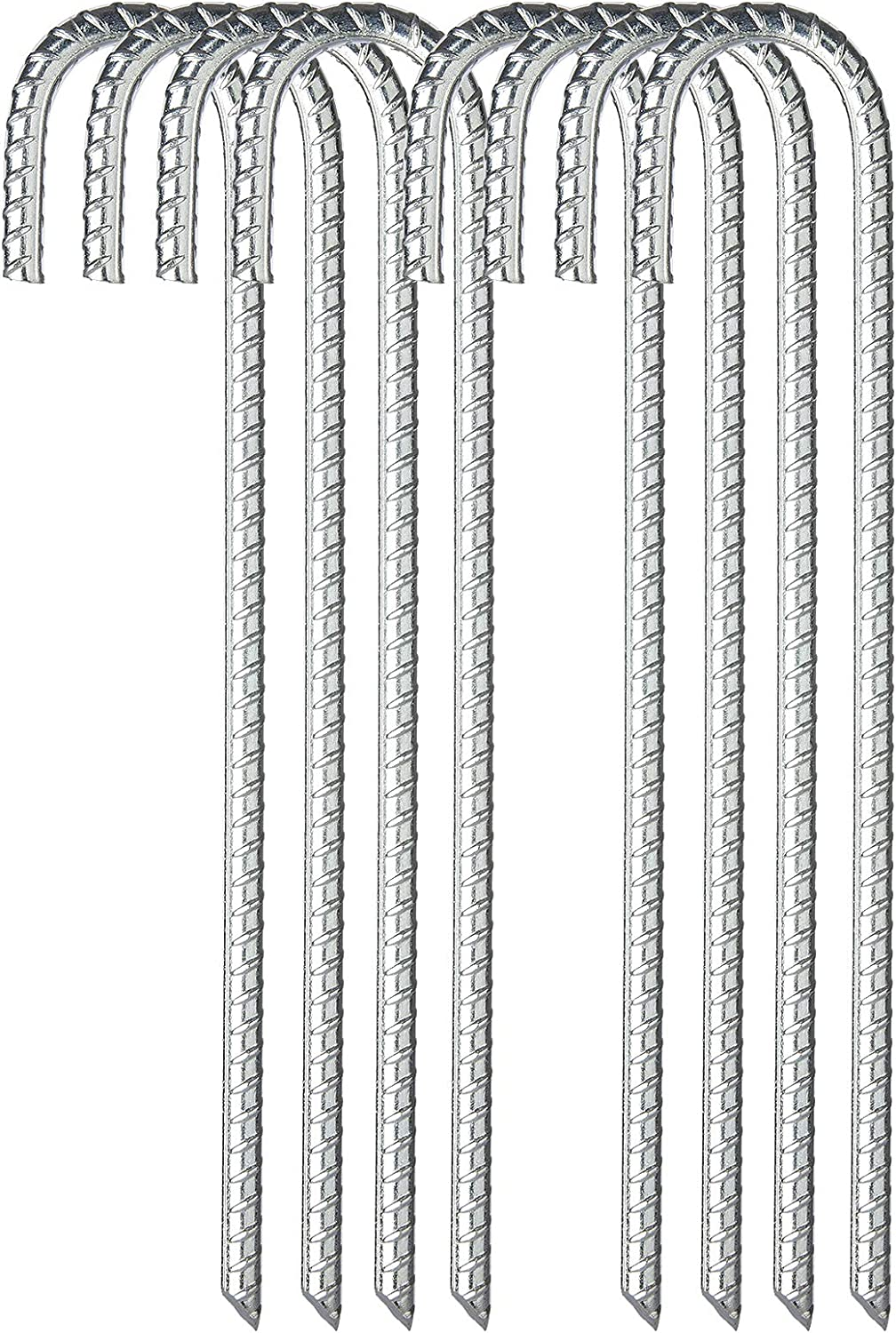 FEED GARDEN 12 Inch Galvanized Rebar Stakes Heavy Duty J Hook,Ground Stakes Tent Stakes Steel Ground Anchors,8 Pack,Silver