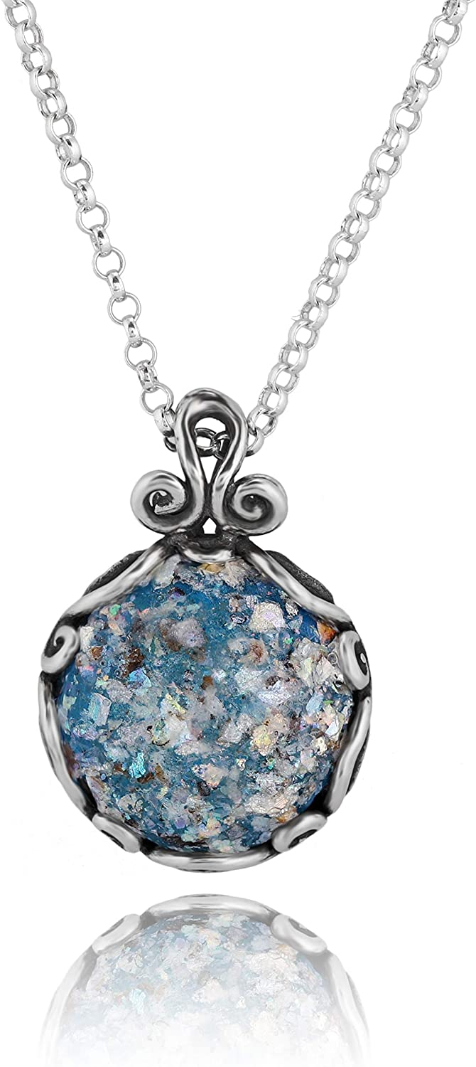 PZ Paz Creations .925 Sterling Silver Roman Glass Pendant Necklace