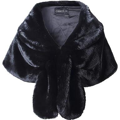 3302804fd70b Caracilia Women Faux Fur Shawl Wrap Stole Shrug Winter Wedding Wrap Black S  CA95