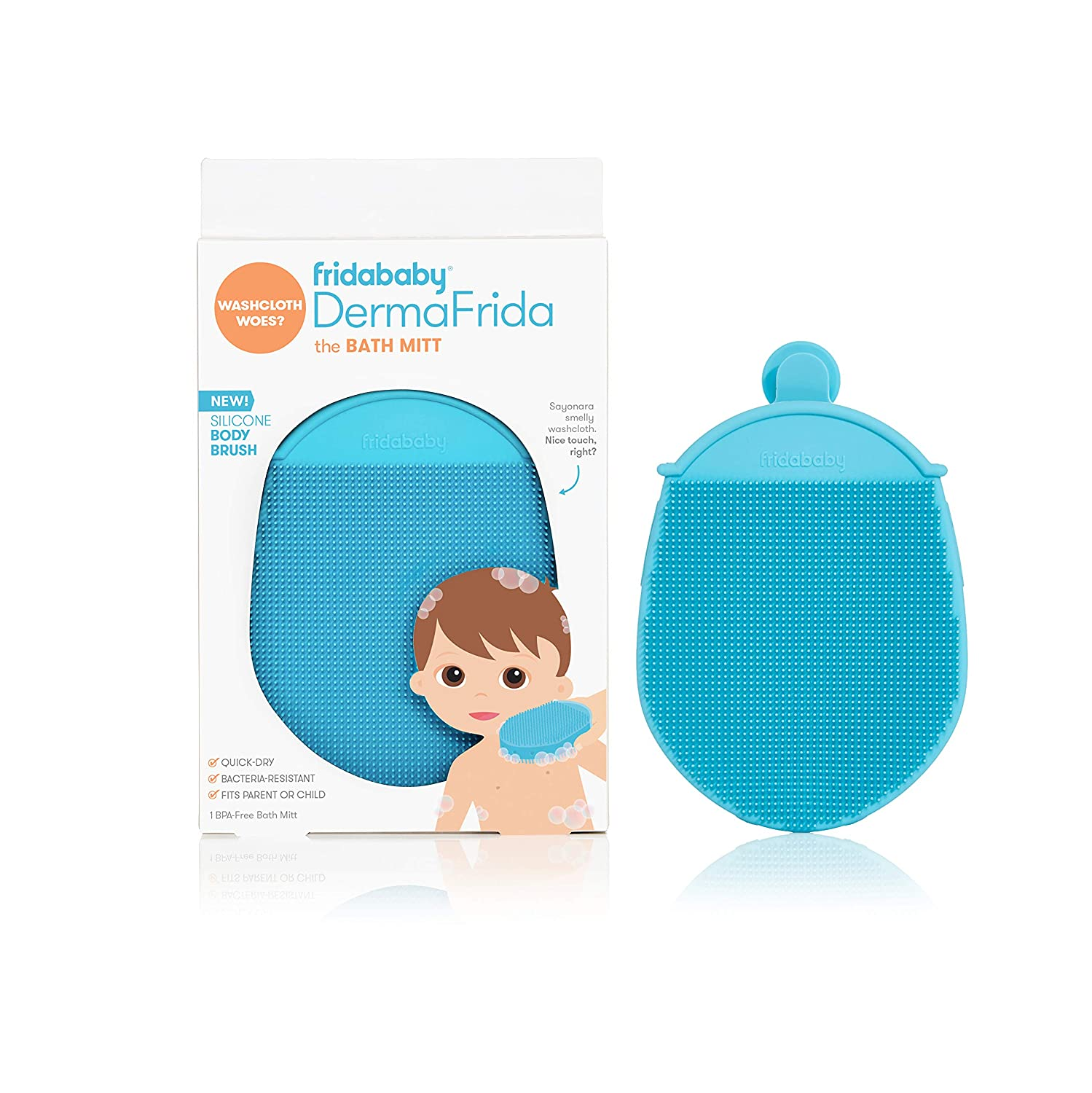 Toddler Silicone Body Bath Brush by Fridababy Bacteria-Resistant Replacement to Kids Washcloth Quick-Dry Exfoliating Mitt Fits Both Parent or Child DermaFrida The Bath Mitt