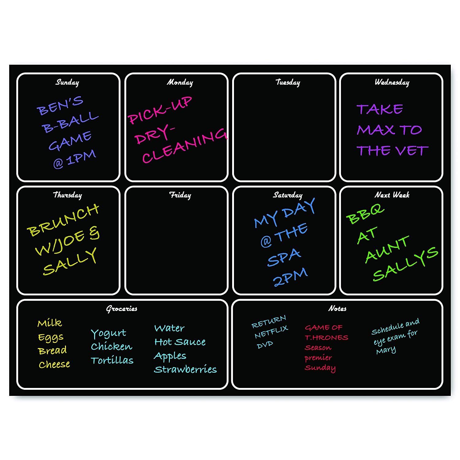 Magnetic Modern Menu Dry Erase Weekly Meal Planner Refrigerator Board with Grocery List and Notes Black