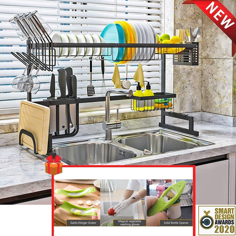 Estante para secar platos sobre fregadero (33