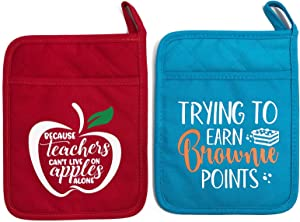 Teacher Appreciation Pot Holders Set of 2, Heat Resistant Microwave Oven Mitt Potholders with Hand Pocket and Hanging Loop End of The Year Teacher Gift Idea