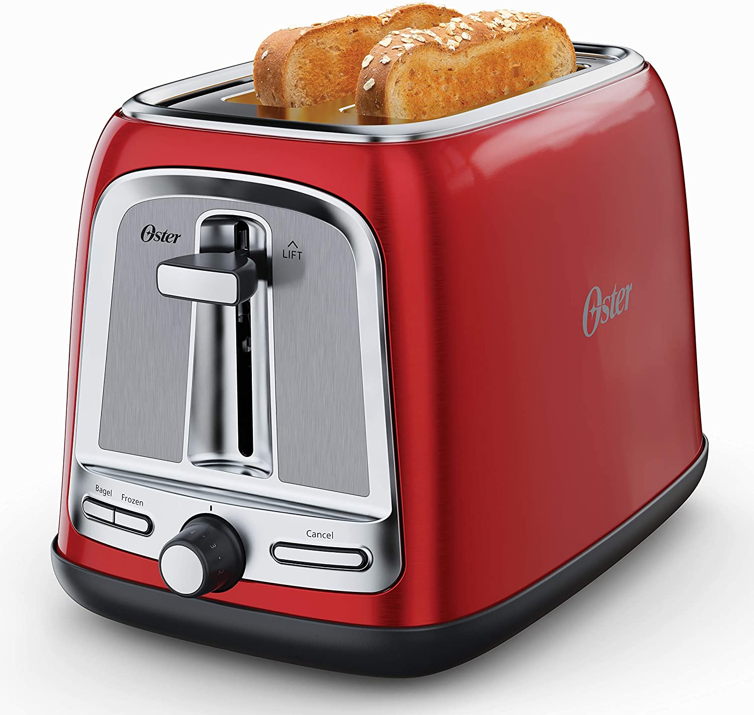 Oster 2-Slice Toaster with Advanced Toast Technology, Candy Apple Red