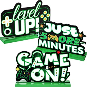 Video Game Table Decorations Pixelated Table Sign Wooden Table Centerpiece, Game On, Level up, Just 5 More Minutes Table Topper, Gaming Party Decoration for boy Kid Birthday Baby Shower Supplies