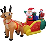 13 Foot Long Lighted Christmas Inflatable Santa Claus and Penguin with Gift in Sleigh Pulled by 2 Reindeer Decoration