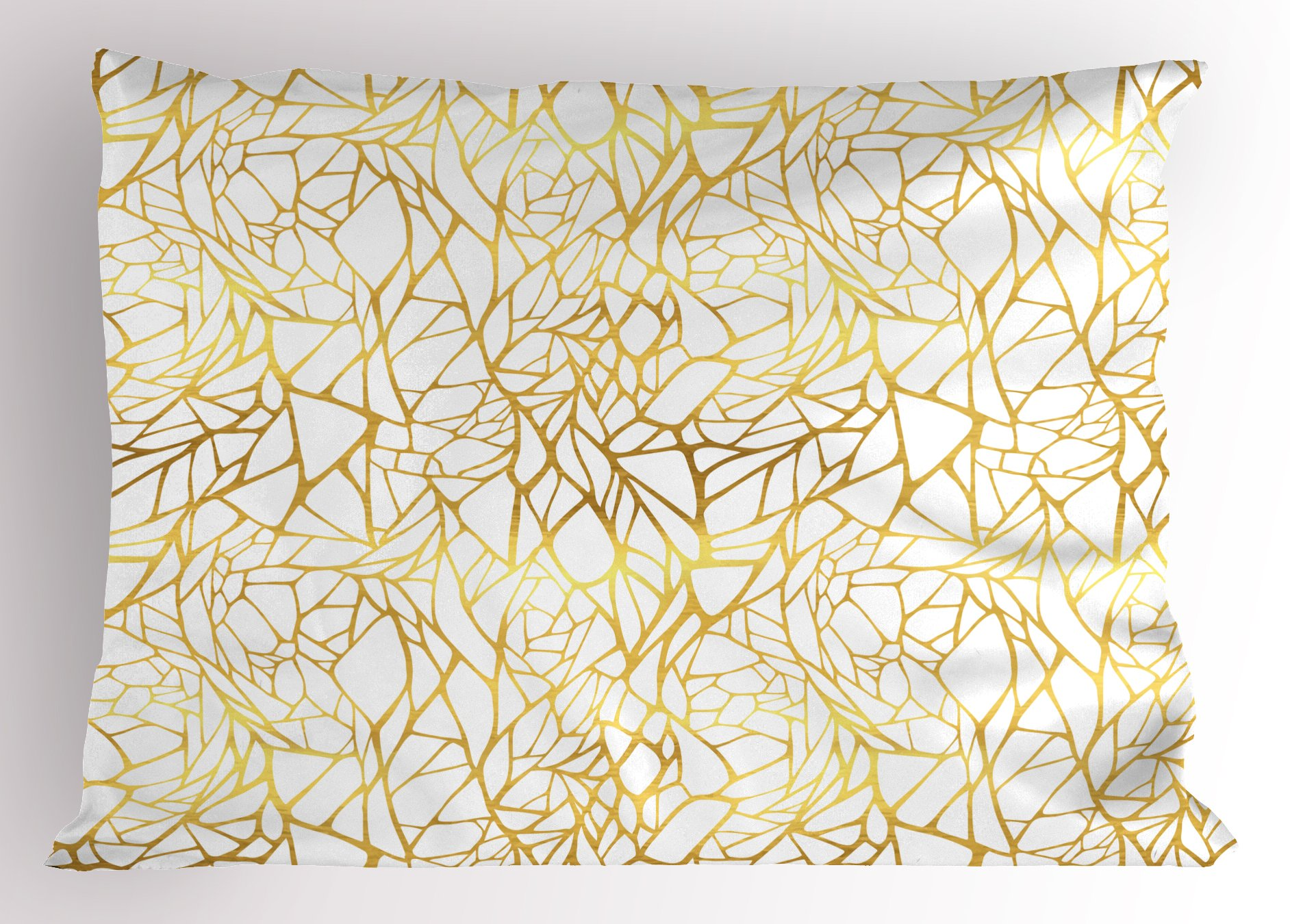 Ambesonne Contemporary Pillow Sham, Abstract Ornament Exotic Animal Pattern Style Feminine Glamor Print, Decorative Standard Size Printed Pillowcase, 26 X 20 inches, Gold Yellow and White