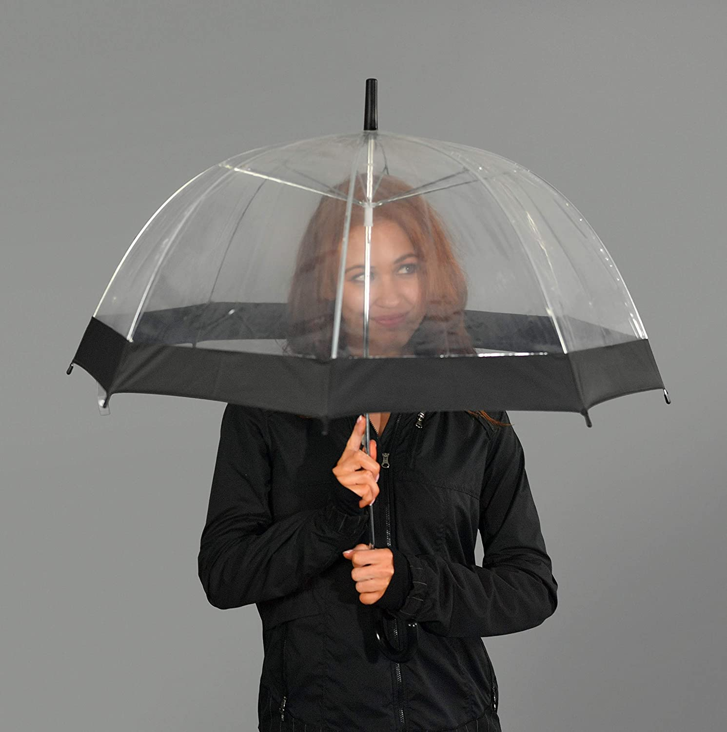 Durable Wind-Resistant Umbrella with Sturdy Bubble Design Incapable of Flipping Inside Out for Men and Women of All Ages Home-X Clear Bubble Umbrella with Black Trim