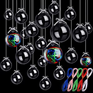 24 Pieces Christmas Clear Plastic Fillable Ornaments Acrylic Clear Plastic Balls with 5 Color Ribbons, DIY Wedding Party Decor with 4 Size 50 mm 60 mm 70 mm 80 mm
