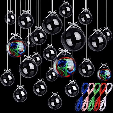 12 Balls 60mm Clear Plastic Acrylic Fillable Ornaments Christmas Tree XMAS Candy