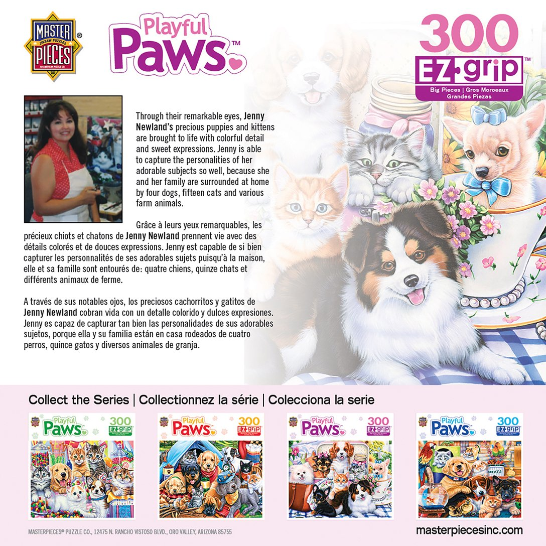 Amazon.com: MasterPieces Playful Paws Sweet Things - Puppies & Kittens Large 300 Piece EZ Grip Jigsaw Puzzle by Jenny Newland: Toys & Games