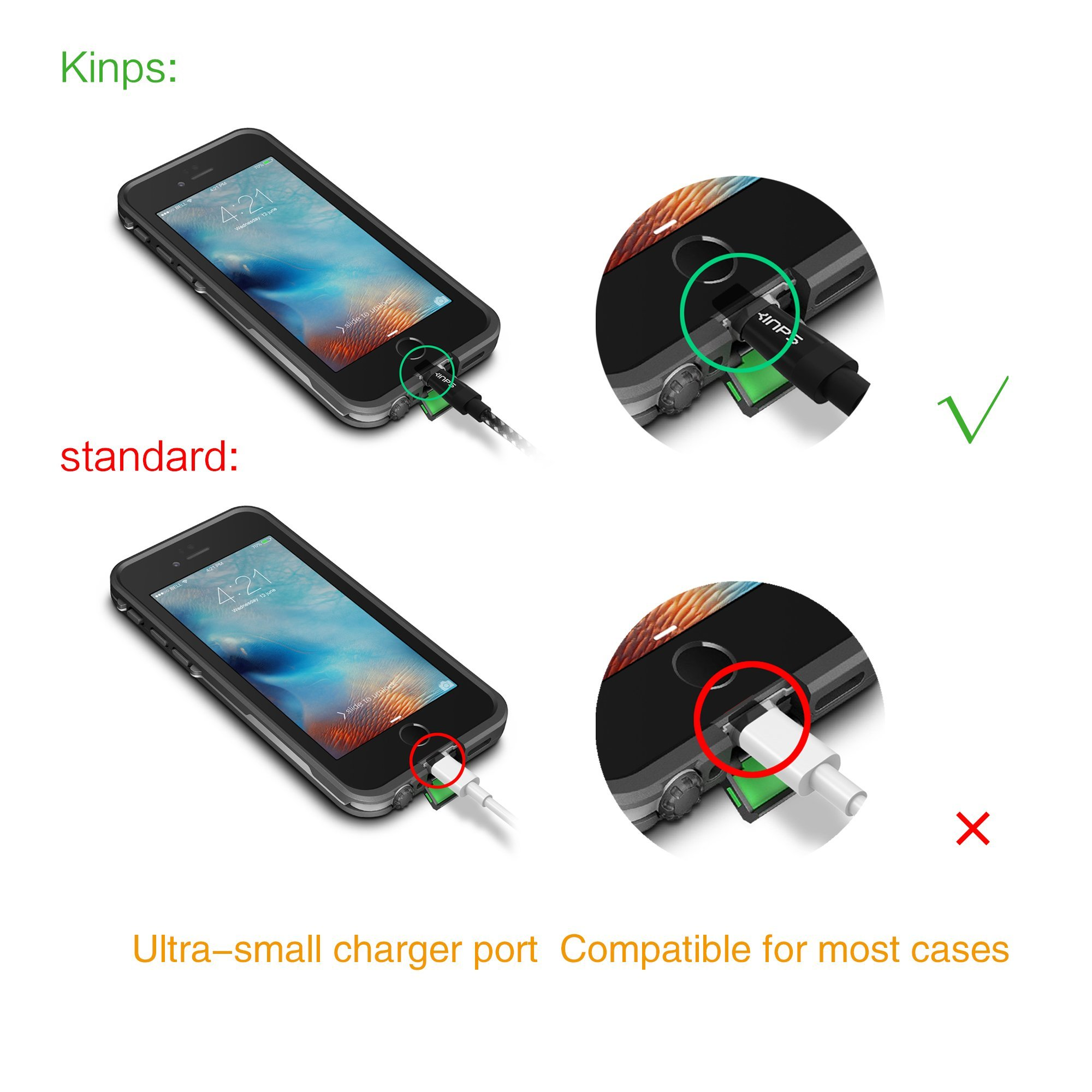 Kinps Apple MFi Certified Lightning to USB Cable 10ft/3m iPhone Charger Cord Super Long for iPhone X / 8 / 8 Plus / 7 / 7 Plus / 6S / 6S Plus / 6 / 6 Plus / SE, iPad Pro / Air / Mini (Nylon-Black) by Kinps (Image #3)