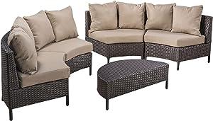 Christopher Knight Home Newton Outdoor 6-Seater Wicker Lounge Set, 5-Pcs Set, Dark Brown