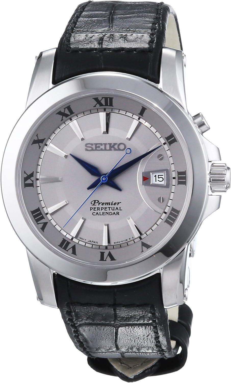 Seiko premier SNQ143 42mm Stainless Steel Case Black Calfskin Hardlex used for Seiko only Men s Watch