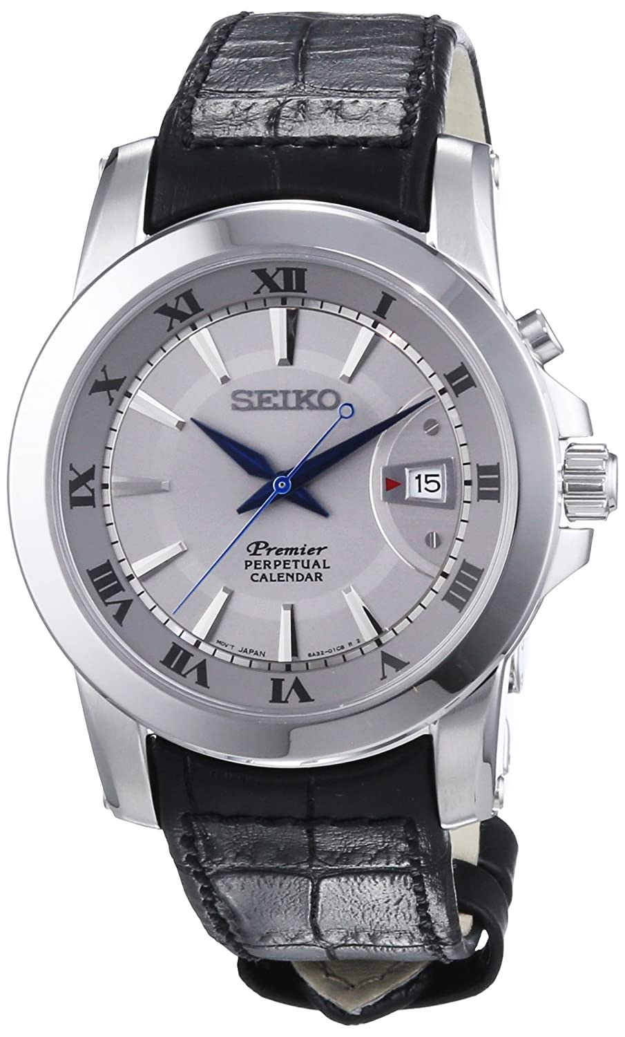 Seiko premier SNQ143 42mm Stainless Steel Case Black Calfskin Hardlex used for Seiko only Men s Watch