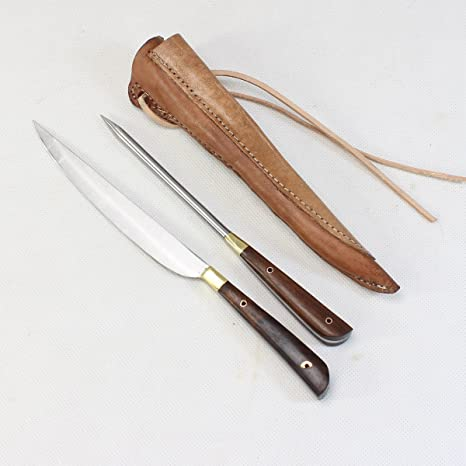 Medieval Cubiertos Cuchillo y pfriem en doble vaina de piel ...