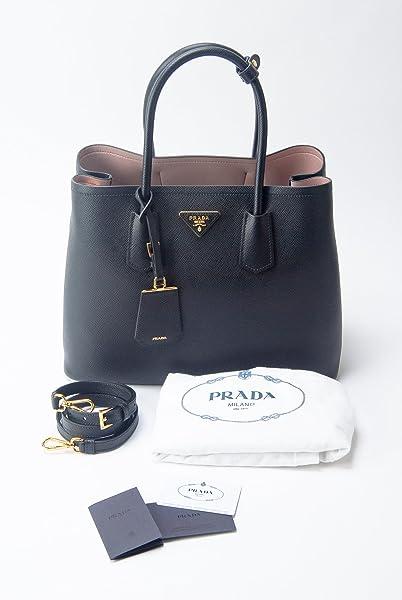 cd40a8a57b52 Prada Black Saffiano Cuir Leather & Rose Dual-Tone Large Double Bag ...