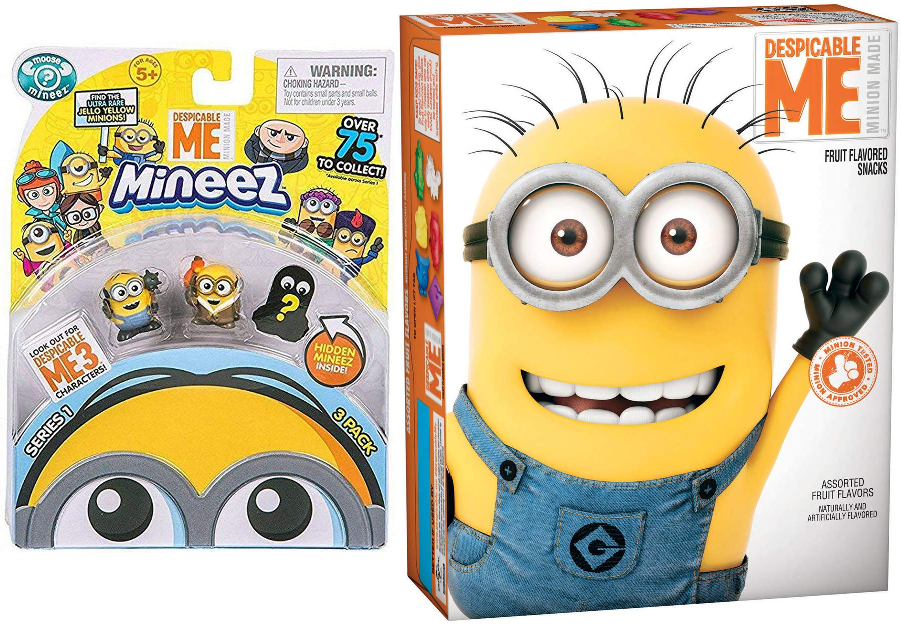 Character Minion Snacks Assorted Fruit Flavor Pouches Despicable Me 3 + Bonus Mineez Mini Figures pack