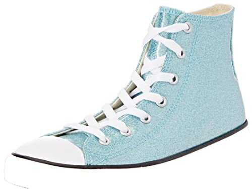 34f210278dfa Converse Kids All Star HI Youth Glitter Bleached Aqua Natural Size 11.5