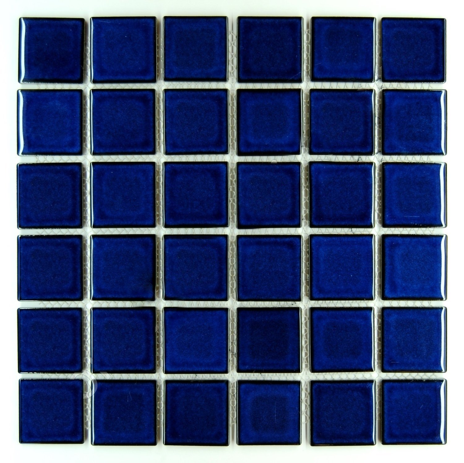 Premium Quality Cobalt Blue Porcelain Square Mosaic Tile Shiny Look ...