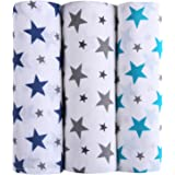 haus & kinder Twinkle Collection 100% Cotton Muslin Baby Swaddles, Oversized, Extra Soft to Baby Delicate Skin, Unisex - Pack of 3 (Size 100 cm by 100 cm)