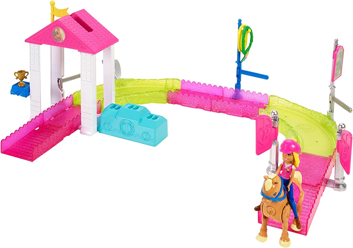 Barbie On the Go, carrera de ponis, muñeca con accesorios y caballo (Mattel FHV66)