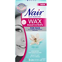 Nair Wax Ready Strips for Face, Unscented for Sensitive Skin with White Lily, 24 Strips + 2 Finishing Wipes
