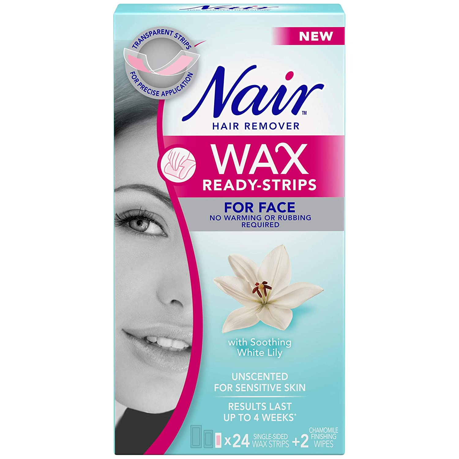 Nair Wax Ready Strips for Face, Unscented for Sensitive Skin with White Lily, 24 Strips + 2 Finishing Wipes Church & Dwight