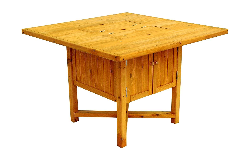 Amazon.com : Leisure Season Cooler Table, Solid Wood, Decay Resistant :  Patio Dining Tables : Garden U0026 Outdoor
