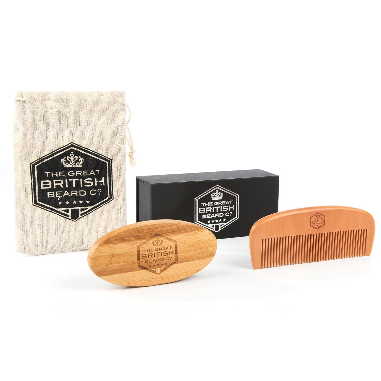 British kit de peine y cepillo de barba–Barba de madera Premium cepillo y peine para barba con caja de regalo y madera ropa ECONNECT Limited