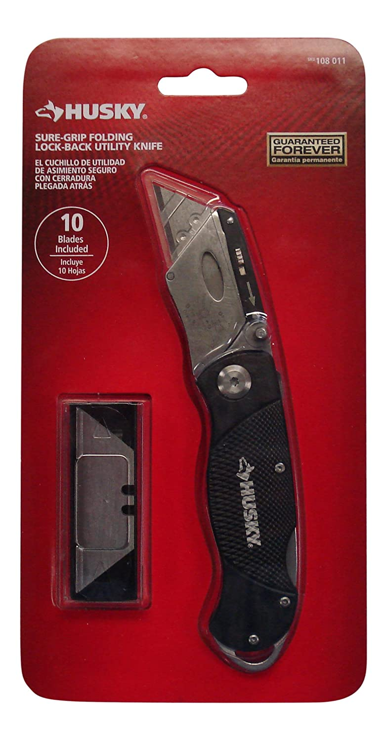 Husky Black Sure-Grip Folding Lock-Back Utility Knife-Including 10 Replacement Blades
